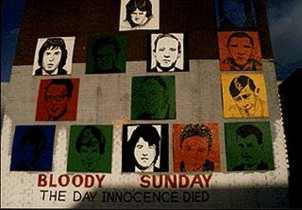 A tribute, in the form of a mural, to those killed in the January 30, 1972 Bloody Sunday